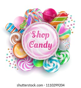 Candy shop background with sweet realistic candies, sweets, caramel, rainbow lollipops and cotton candy. Vector illustration. Snack bonbon colorful, spiral lolly