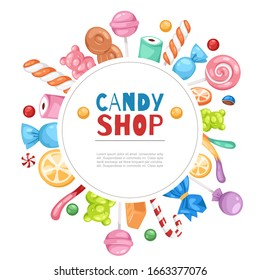 Candy shop confectionery and sweets frame with lollipop, caramel and jelly cartoon vector illustration poster. Candy shop and confectionary isolated on white background.