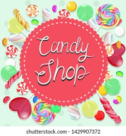 Candy shop emblem. Multicolor emblem. Vector graphics.