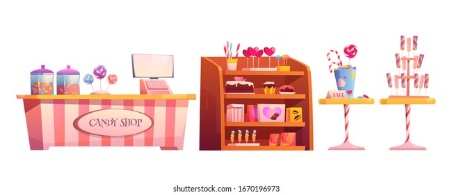 Candy shop empty interior furniture set with various pastry, cashier desk, shelf and tables with chocolate, candycanes and lollipops for sale, sweets decorate elements cartoon vector illustration
