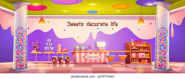 Candy shop empty interior with various pastry, cashier desk, shelf and tables with chocolate, candycanes and lollipops for sale, glass tubes with bubble gum or sweets decor cartoon vector illustration