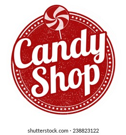 Candy shop grunge rubber stamp on white background, vector illustration
