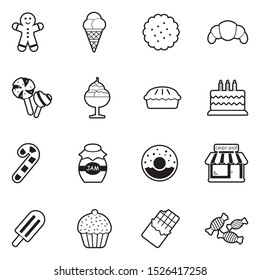 Candy Shop Icons. Line With Fill Design. Vector Illustration.
