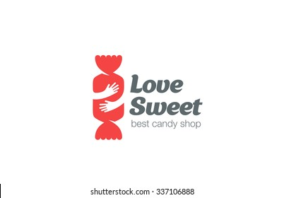 Candy Shop Logo design vector template. Sweet Love Concept: Embrace the Bon-bon Logotype negative space icon.