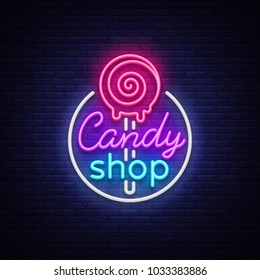 Candy shop logo in neon style. Store sweets neon sign, banner light, bright neon night sweets advertising. Design template for your projects. Vector illustration