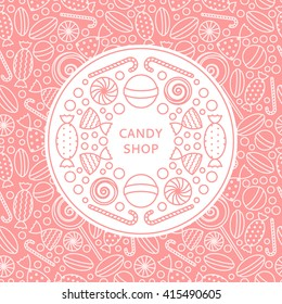 Candy shop logo and seamless patterns with candies in trendy linear style. Background with pink candy icons in trendy linear style. Vector illustration.