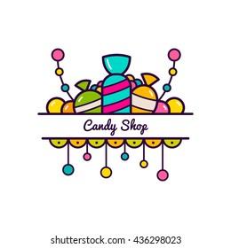 Candy shop logo. Vector illustration.