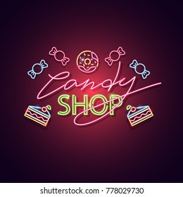 Candy shop neon sign. Neon sign, bright signboard, light banner. Vector icon