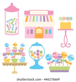 Candy shop in pastel colors. Vector design.