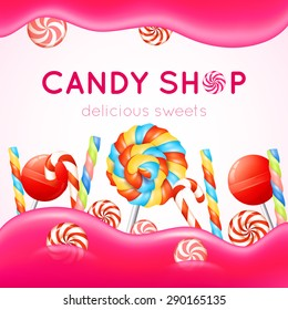 Candy shop poster with multicolored candies on white and pink background vector illustration