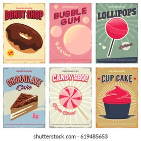 Candy shop retro posters or flyers set.  Layout templates with donut, bubble gum, lollipop, chocolate cake, cupcake. Vector illustration