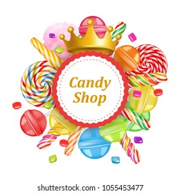 Candy shop round frame background with sweets. 3d realistic vector
