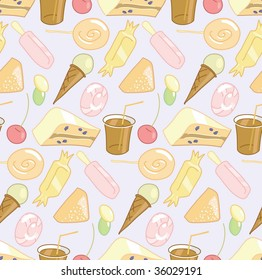 Candy shop: Seamless vector pattern with candy, cookie, ice cream and soda.