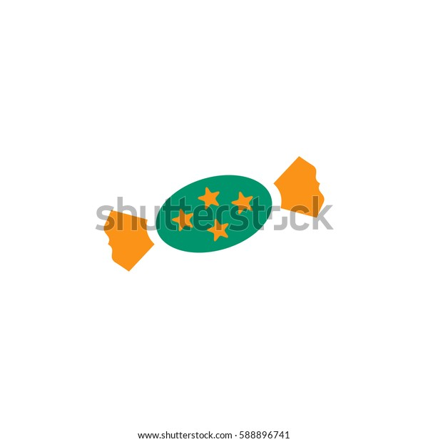 Candy with star. Color symbol icon on white background. Vector illustration