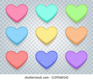 Candy sweet hearts. Love sweetheart conversation valentines candies isolated on transparent background