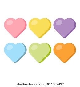 Candy sweet hearts in pastel colors. Blank conversation hearts. Valentines Day clip art set. Vector illustration.