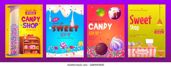 Candy and sweet shop ad banners set. Various pastry on shelf, cashier desk, chocolate, candycanes and lollipops, glass tube with bubble gum, dripping ice cream, special offer cartoon vector posters