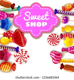 Candy Sweet Shop background set of different colors of candy, candy, sweets, candy, jelly beans. Template, poster, banner, vector, isolated, cartoon style