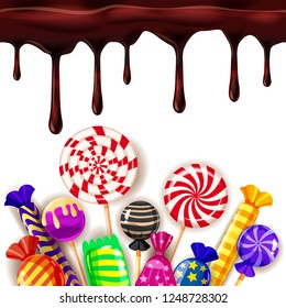 Candy Sweet Shop colourfull template set of different colors of candy, sweets, jelly beans with chocolate drips. Background, poster, banner, vector, isolated, cartoon style