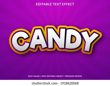 candy text effect template design with bold style and 3d concept use for business brand and logo