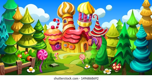 Candy town in a fairy forest. Fantastic world is made of cakes, marmalades, candies and gingerbread. Vector cartoon illustration.