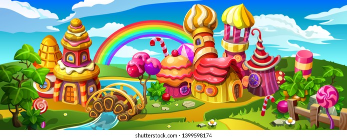 Candy town which is made of lollipop, cake, caramel and marmalade. Colorful houses, towers and bridge on the big panorama. Vector cartoon illustration.