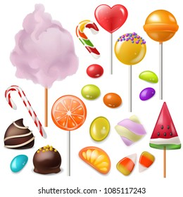 Candy vector sweet food dessert lollipop or caramel bonbon in confectionery or candyshop illustration set of candyfloss and sweetie canesugar isolated on white background