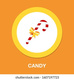 candy-cane icon. flat illustration of candy-cane - vector icon. candy-cane sign symbol - Shutterstock ID 1607197723