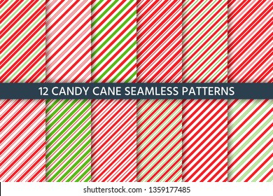 Cane candy pattern. Vector. Christmas seamless background.  Holiday diagonal red green wrapping paper. Stripe traditional peppermint backdrop. Sugar lollipop illustration.