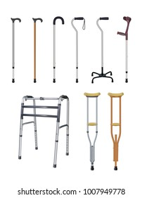Cane, crutch and walkers. Set of special auxiliary means of transportation for people with musculoskeletal system diseases. Realistic objects on white background. Vector illustration.