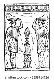 Canephoros are the two appointed virgins , vintage line drawing or engraving illustration.