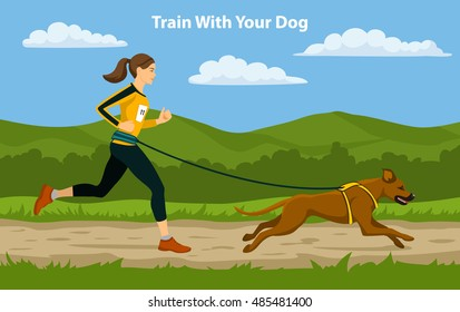 Canicross Sport Cross Country Training. Woman running with her dog Rhodesian Ridgeback outdoor.