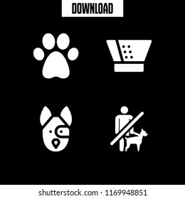 canine icon. 4 canine vector set. no pets, dog, pawprint and cone of shame icons for web and design about canine theme