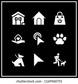 canine icon. 9 canine vector set. pointer, sitting dog, pawprints and pet shop icons for web and design about canine theme