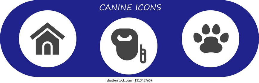 canine icon set. 3 filled canine icons.  Simple modern icons about  - Dog house, Leash dog, Pawprints