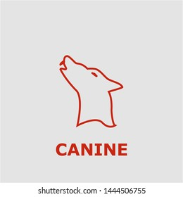 Canine symbol. Outline canine icon. Canine vector illustration for graphic art.