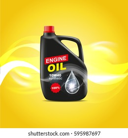 Canister engine oil design advertising template vector illustration