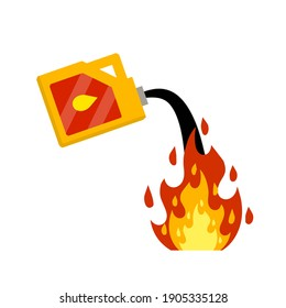 Canister with fuel. Red gas tank. Container with oil. Flammable object. Danger and fire. Watering a Dangerous flame. Flat cartoon icon illustration isolated on white background