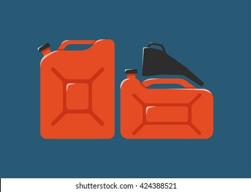 Canister, funnel, fuel icon. Metal canister of gasoline cartoon flat vector canister illustration