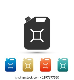 Canister for gasoline icon isolated on white background. Diesel gas icon. Set elements in colored icons. Flat design. Vector Illustration