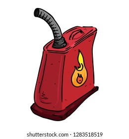 Canister hand drawn. Vector of a canister for gasoline, fuel. Icon gasoline canister.