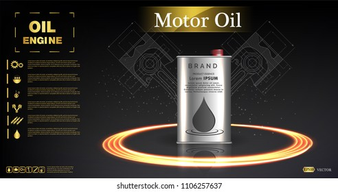 Canister vector jerrican or can of fuel gasoline for automobile and plastic jerrycan with petrol or oil illustration.Bottle engine oil on a background a motor-car piston,