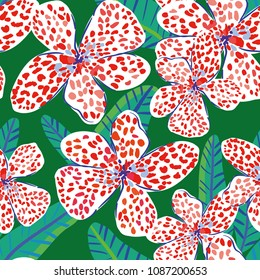 Canna flowers and leaves, green background. Vector floral seamless pattern. Tropical jungle foliage illustration. Exotic plants greenery. Summer beach design. Paradise nature.
