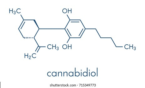 Cannabidiol (CBD) cannabis molecule. Has antipsychotic effects. Skeletal formula.