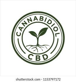 Cannabidiol cbd logo vintage design