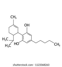Cannabidiol or CBD molecular structural chemical formula. Vector icon.