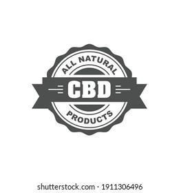 Cannabidiol CBD stamp, cbd oil natural food sign, web seal or badge