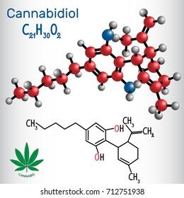Cannabidiol (CBD) - structural chemical formula and molecule model. Active cannabinoid in cannabis, has antipsychotic effects. Vector illustration