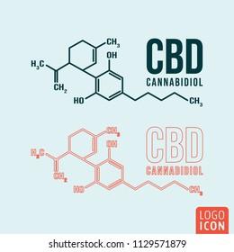 Cannabidiol formula symbol. Cannabis neon light design. Vector illustration.