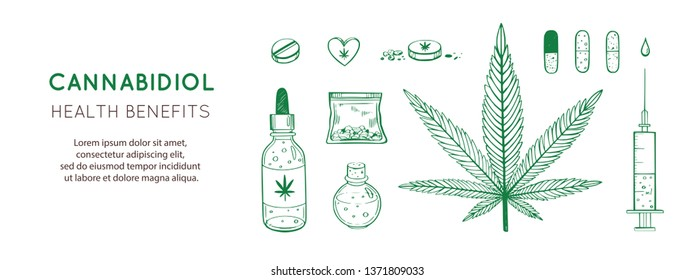 Cannabidiol Health benefits Vector background, banner. Hand drawn Infographic set of medical Cannabis, marijuana.  Pills,  bottles, oil and other medicinal cannabis symbols